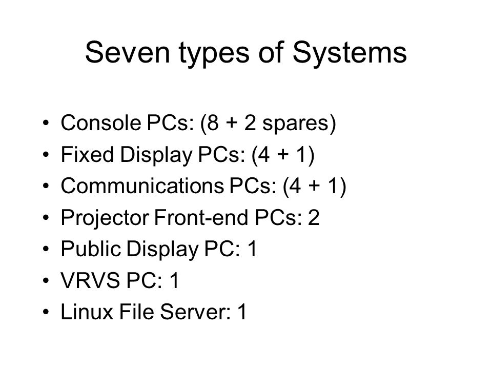 Seven types of Systems Console PCs: (8 + 2 spares) Fixed Display PCs: (4 + 1) Communications PCs: (4 + 1) Projector Front-end PCs: 2 Public Display PC