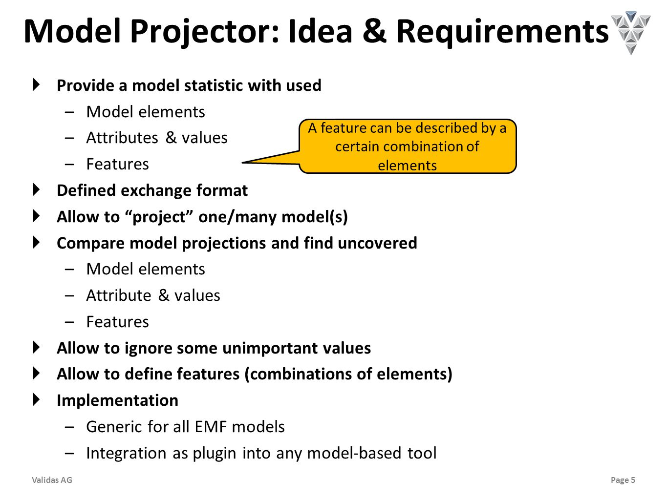 Page 5Validas AG Model Projector: Idea & Requirements  Provide a model statistic with used –Model elements –Attributes & values –Features  Defined exchange format  Allow to project one/many model(s)  Compare model projections and find uncovered –Model elements –Attribute & values –Features  Allow to ignore some unimportant values  Allow to define features (combinations of elements)  Implementation –Generic for all EMF models –Integration as plugin into any model-based tool A feature can be described by a certain combination of elements