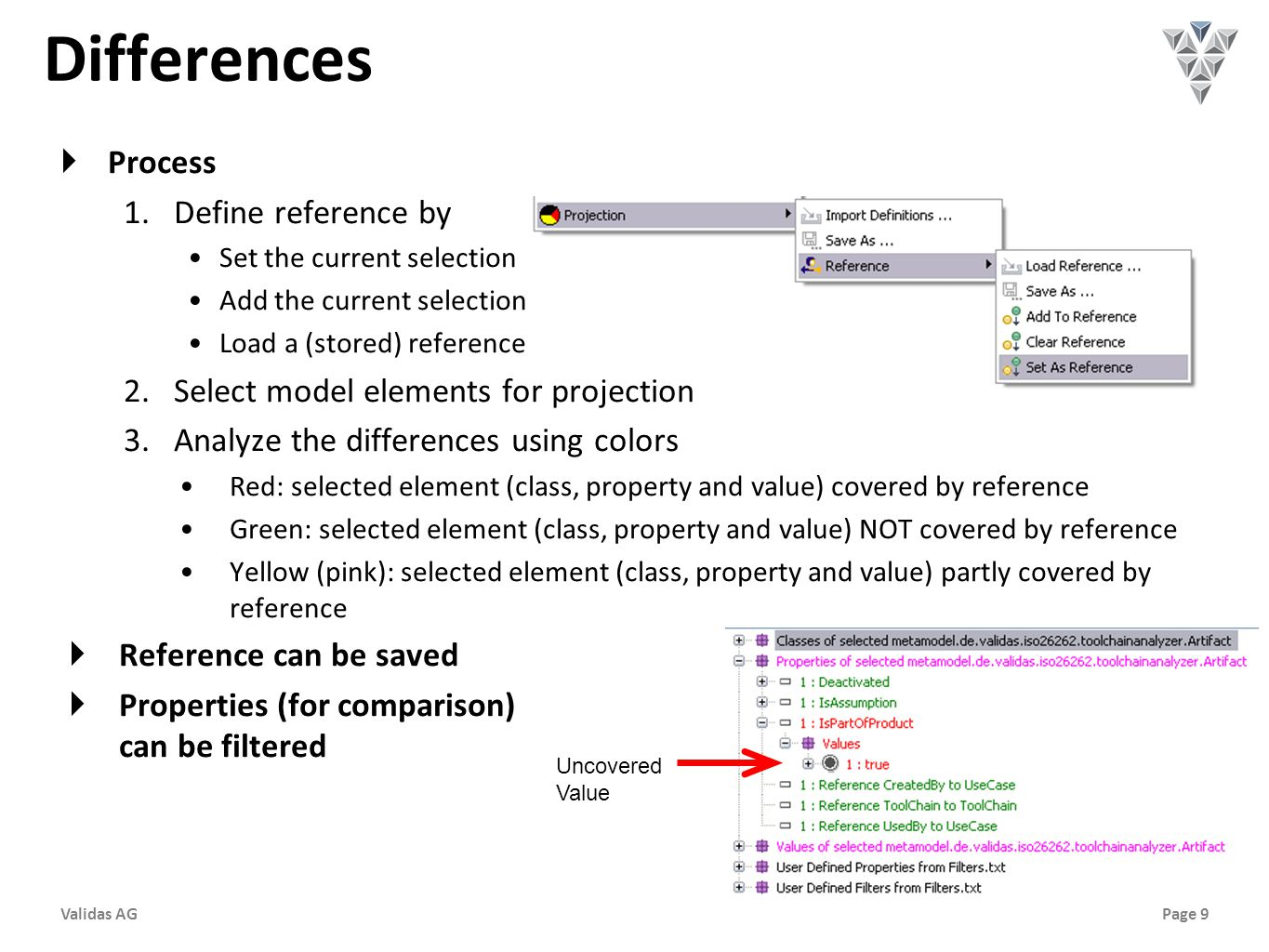 Page 9Validas AG Differences  Process 1.Define reference by Set the current selection Add the current selection Load a (stored) reference 2.Select model elements for projection 3.Analyze the differences using colors Red: selected element (class, property and value) covered by reference Green: selected element (class, property and value) NOT covered by reference Yellow (pink): selected element (class, property and value) partly covered by reference  Reference can be saved  Properties (for comparison) can be filtered Uncovered Value