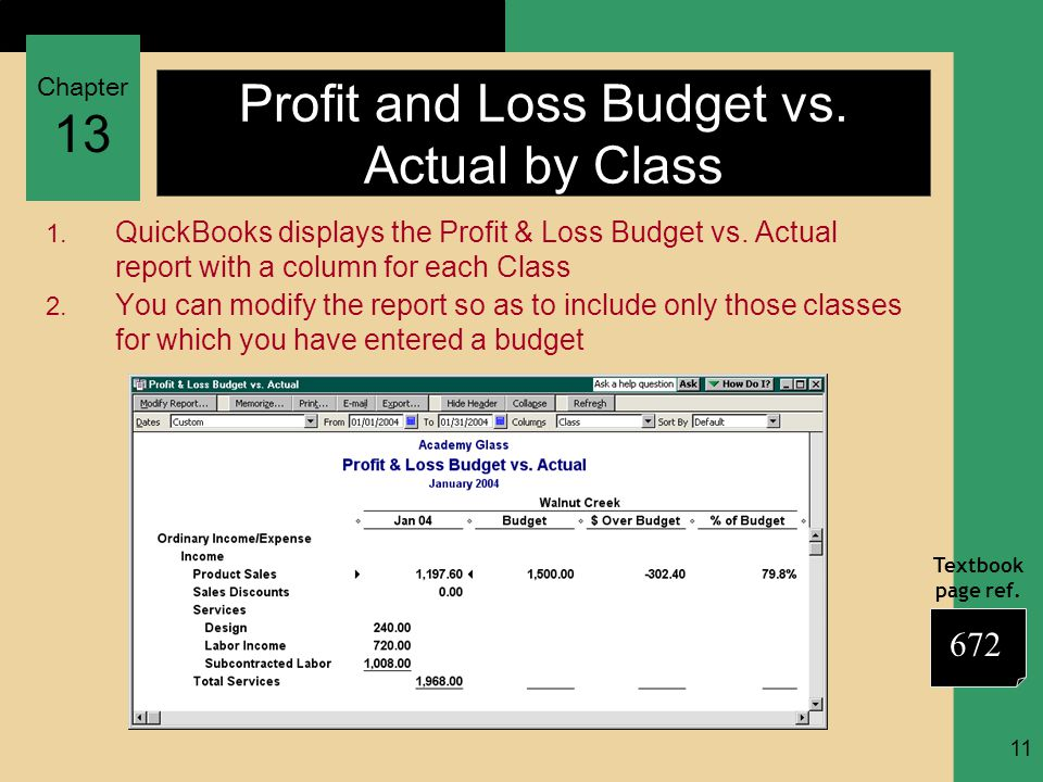 Chapter 13 Textbook page ref. 11 Profit and Loss Budget vs. Actual by Class 1. QuickBooks displays the Profit & Loss Budget vs. Actual report with a c