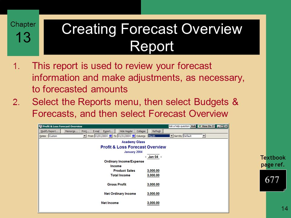 Chapter 13 Textbook page ref. 14 Creating Forecast Overview Report 1.