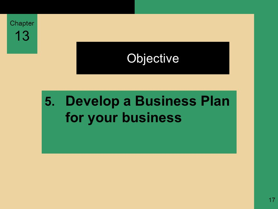 Chapter 13 17 Objective 5. Develop a Business Plan for your business