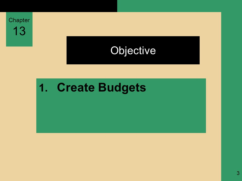 Chapter 13 Textbook page ref.4 Creating Budgets 1.