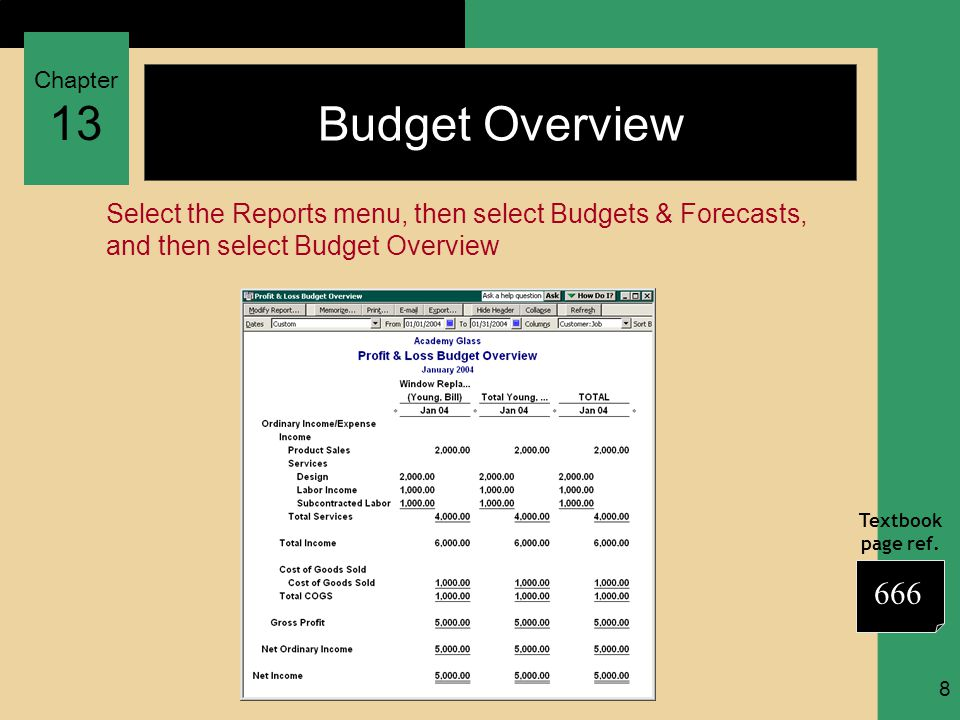 Chapter 13 Textbook page ref. 8 Budget Overview Select the Reports menu, then select Budgets & Forecasts, and then select Budget Overview 666
