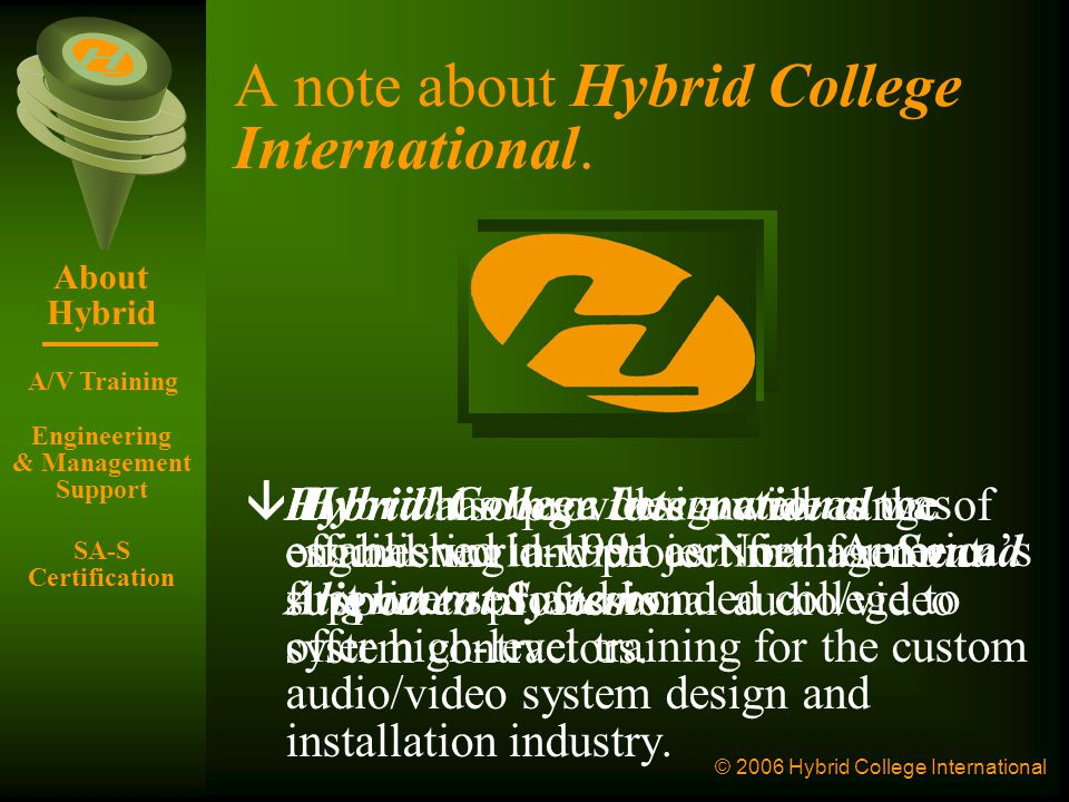 © 2006 Hybrid College International Professional Audio/Video & Sound Reinforcement Presented by Shahrokh Monjazeb, B.Sc.(EE), M.A.E.S.