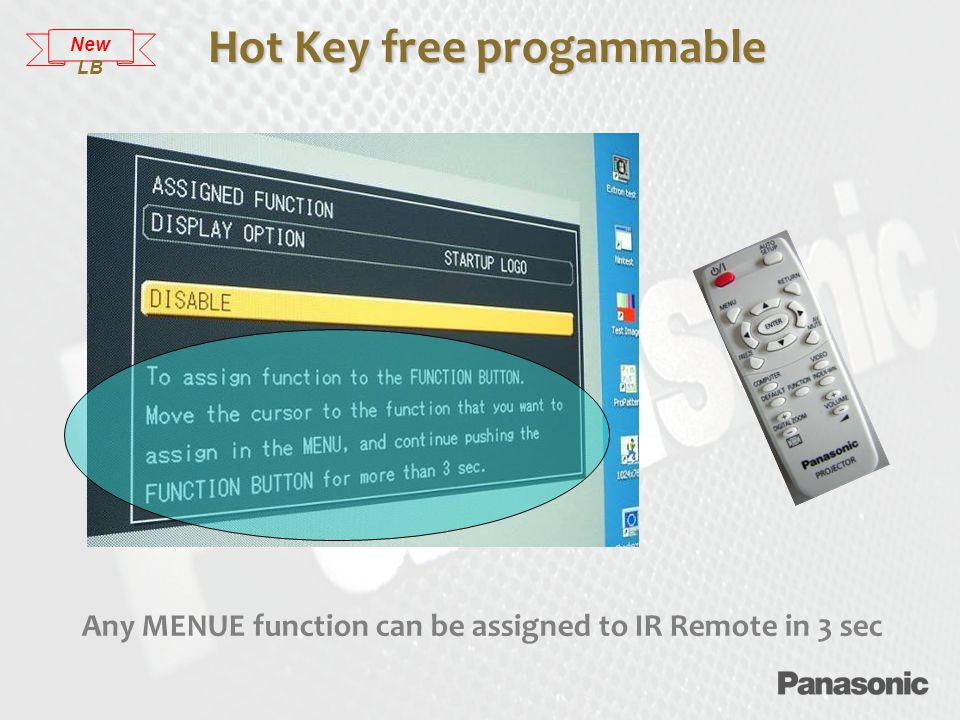Any MENUE function can be assigned to IR Remote in 3 sec Hot Key free progammable New LB