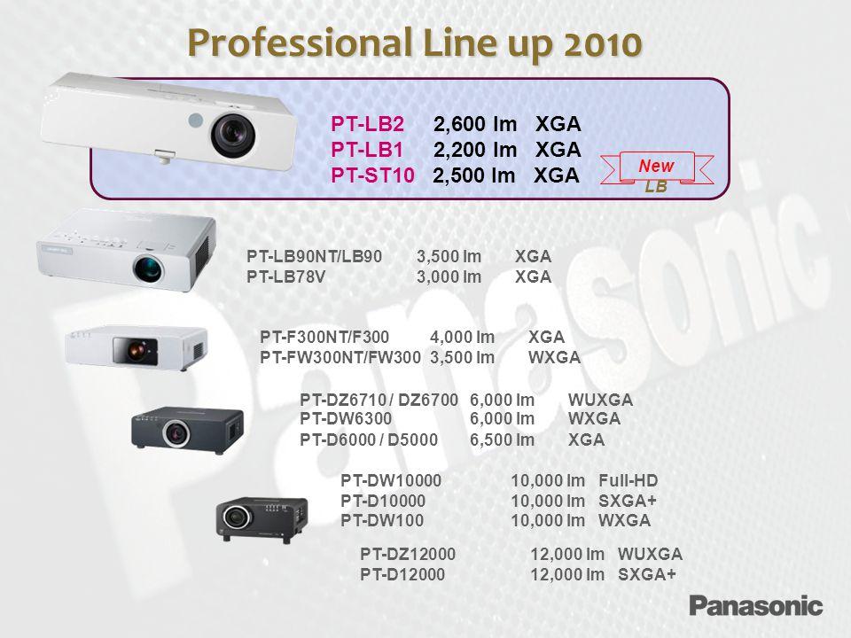 PT-LB2 2,600 lm XGA PT-LB1 2,200 lm XGA PT-ST10 2,500 lm XGA PT-LB90NT/LB903,500 lm XGA PT-LB78V3,000 lm XGA PT-F300NT/F300 4,000 lm XGA PT-FW300NT/FW3003,500 lm WXGA PT-DZ6710 / DZ67006,000 lm WUXGA PT-DW6300 6,000 lm WXGA PT-D6000 / D50006,500 lm XGA PT-DW1000010,000 lm Full-HD PT-D1000010,000 lm SXGA+ PT-DW10010,000 lm WXGA PT-DZ12000 12,000 lm WUXGA PT-D1200012,000 lm SXGA+ Professional Line up 2010 New LB