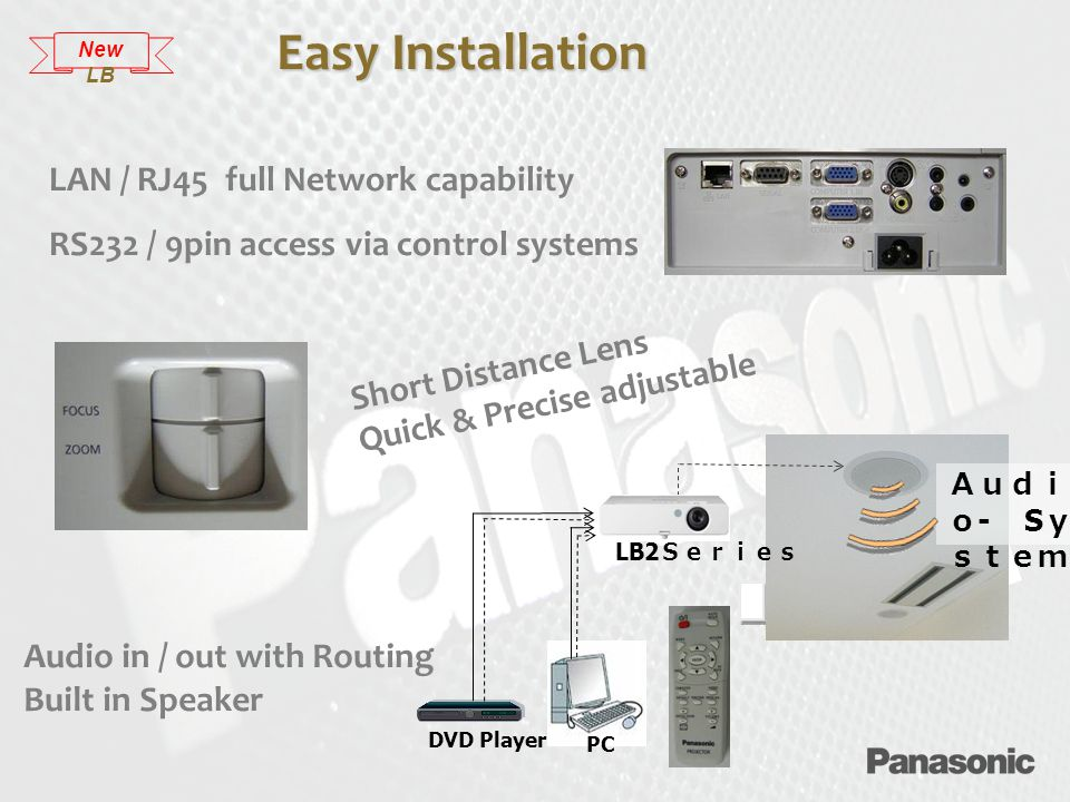 LAN / RJ45 full Network capability RS232 / 9pin access via control systems DVD Player Audi o - S y stem PC LB2 Series Easy Installation Short Distance Lens Quick & Precise adjustable Audio in / out with Routing Built in Speaker New LB