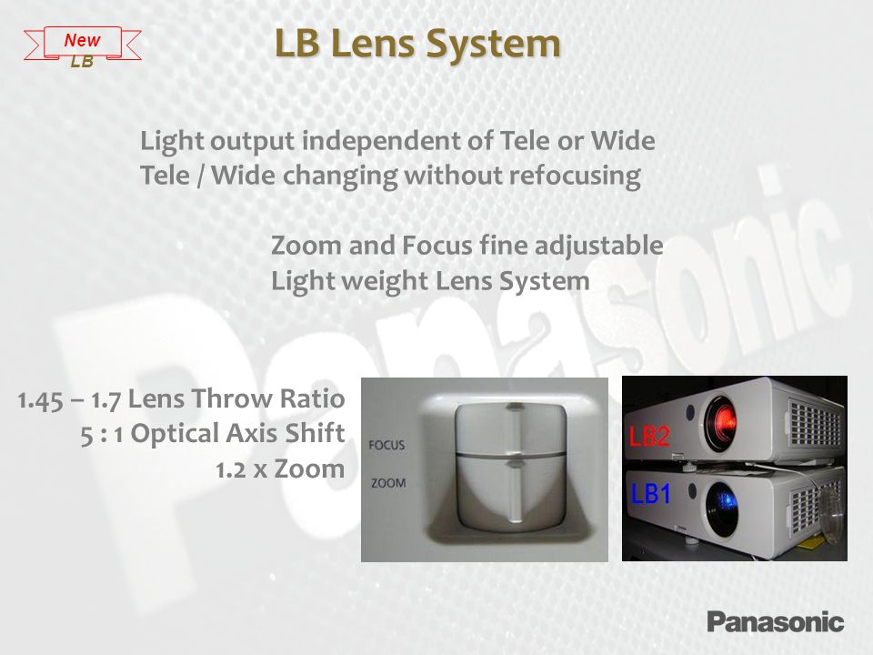 Light output independent of Tele or Wide Tele / Wide changing without refocusing Zoom and Focus fine adjustable Light weight Lens System LB Lens System New LB 1.45 – 1.7 Lens Throw Ratio 5 : 1 Optical Axis Shift 1.2 x Zoom