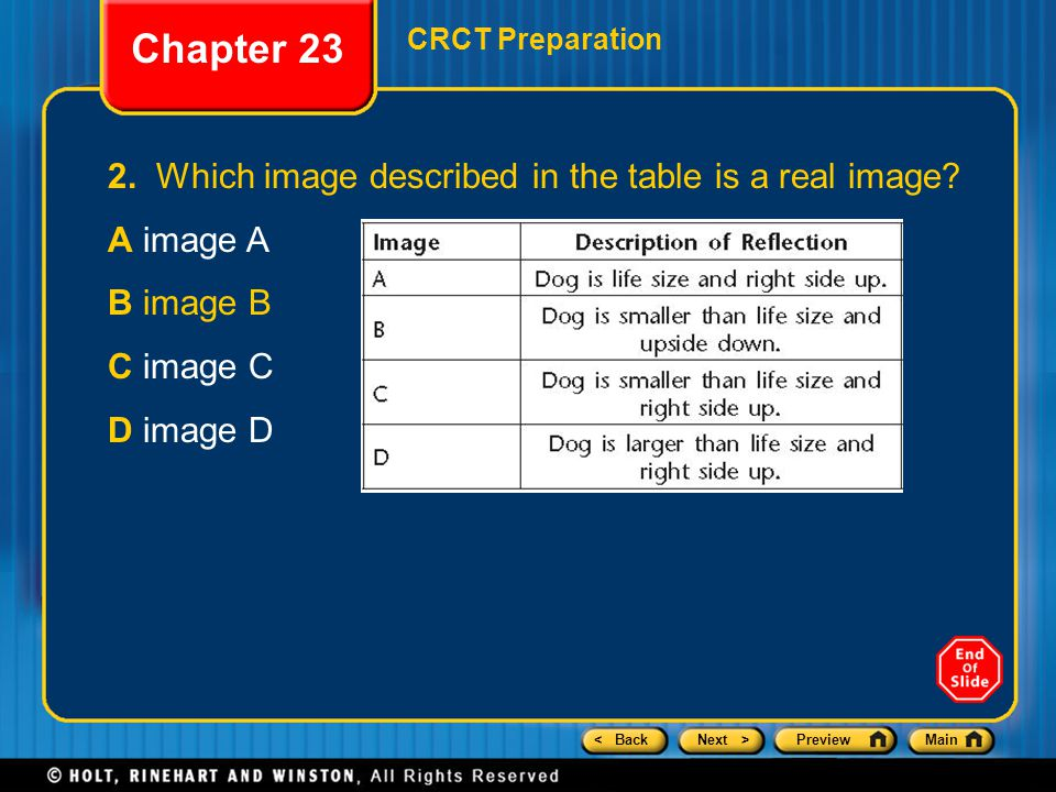< BackNext >PreviewMain Chapter 23 CRCT Preparation 2.