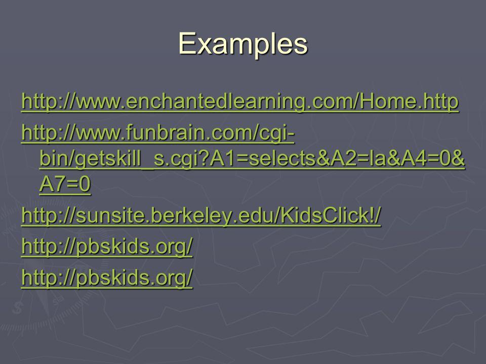 Examples http://www.enchantedlearning.com/Home.http http://www.funbrain.com/cgi- bin/getskill_s.cgi A1=selects&A2=la&A4=0& A7=0 http://www.funbrain.com/cgi- bin/getskill_s.cgi A1=selects&A2=la&A4=0& A7=0 http://sunsite.berkeley.edu/KidsClick!/ http://pbskids.org/