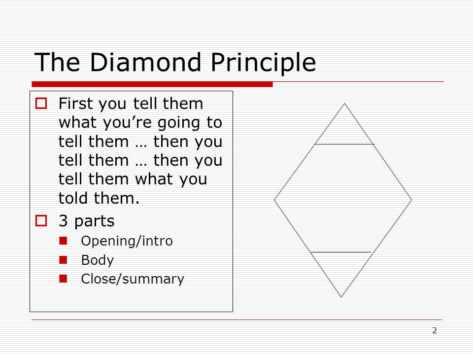 2 The Diamond Principle  First you tell them what you're going to tell them … then you tell them … then you tell them what you told them.