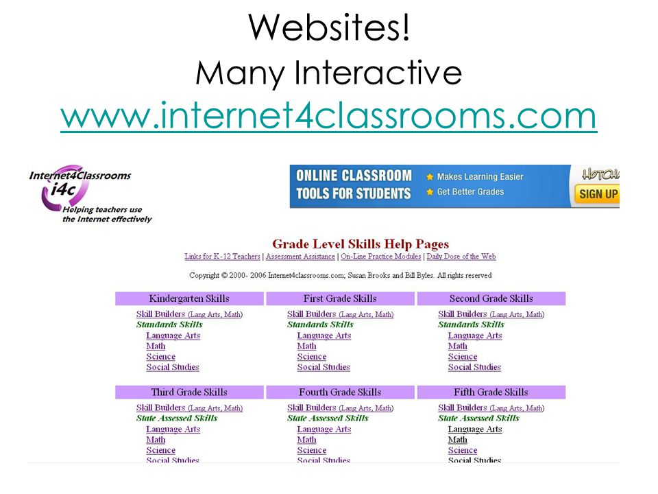 Websites! Many Interactive www.internet4classrooms.com www.internet4classrooms.com