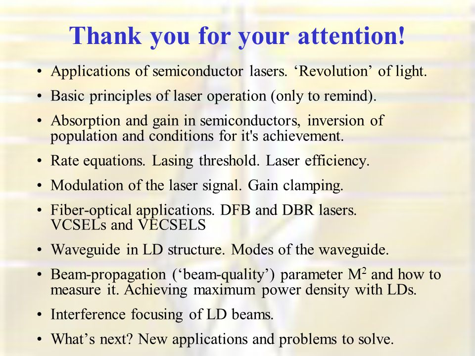 Thank you for your attention. Applications of semiconductor lasers.