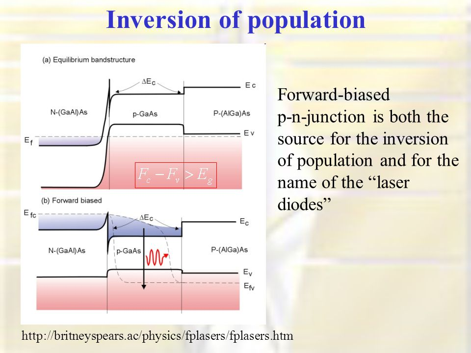 Inversion of population http://britneyspears.ac/physics/fplasers/fplasers.htm Forward-biased p-n-junction is both the source for the inversion of population and for the name of the laser diodes