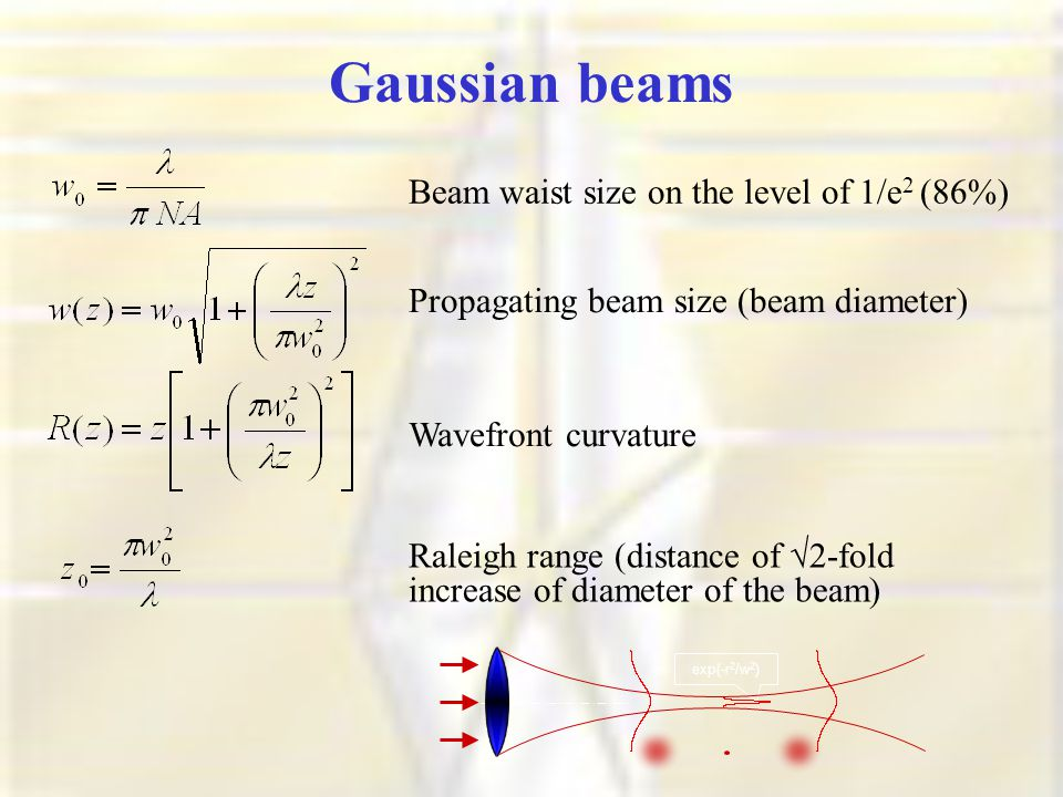exp(-r 2 /w 2 ) Beam waist size on the level of 1/e 2 (86%) Propagating beam size (beam diameter) Wavefront curvature Raleigh range (distance of √2-fold increase of diameter of the beam) Gaussian beams