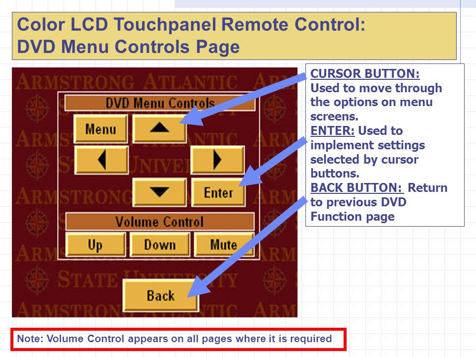 Color LCD Touchpanel Remote Control: DVD Menu Controls Page CURSOR BUTTON: Used to move through the options on menu screens.