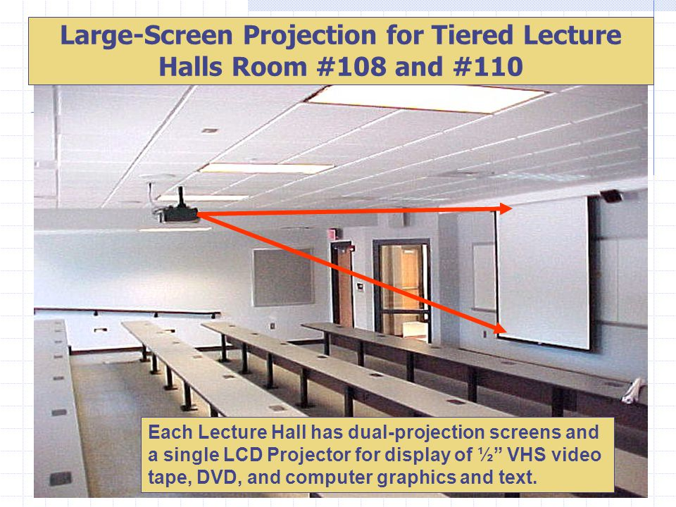 Large-Screen Projection for Tiered Lecture Halls Room #108 and #110 Each Lecture Hall has dual-projection screens and a single LCD Projector for displ
