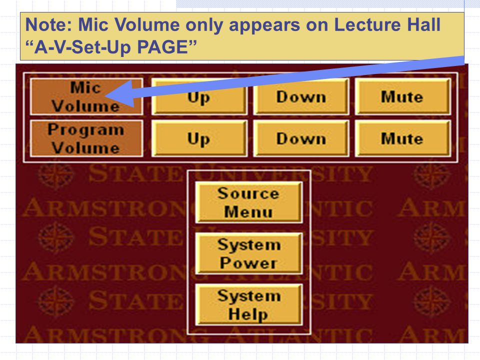 Note: Mic Volume only appears on Lecture Hall A-V-Set-Up PAGE