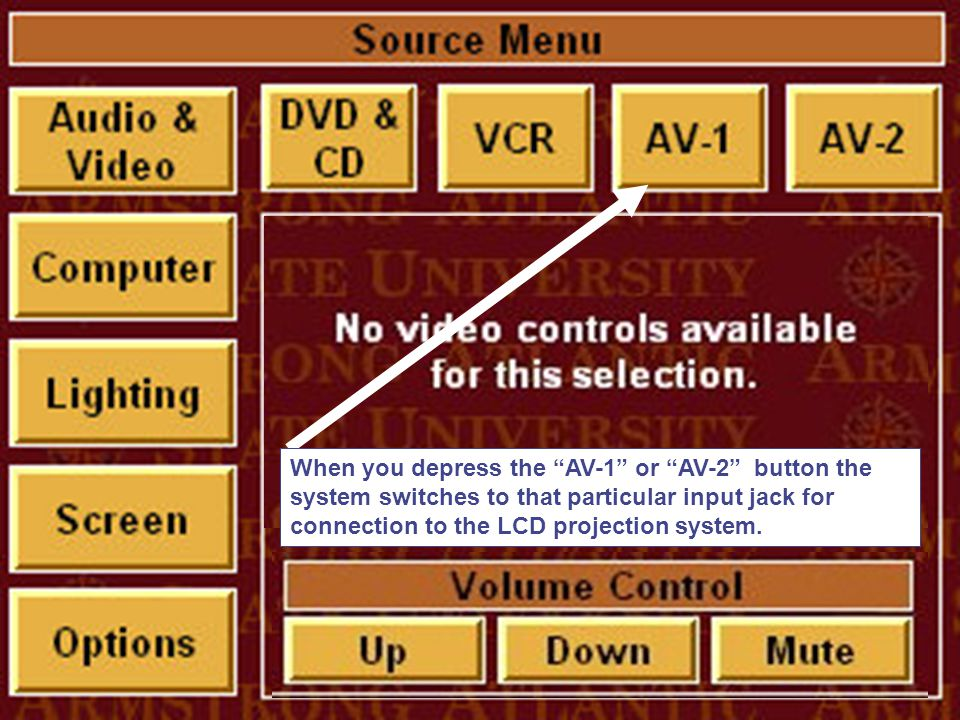 When you depress the AV-1 or AV-2 button the system switches to that particular input jack for connection to the LCD projection system.