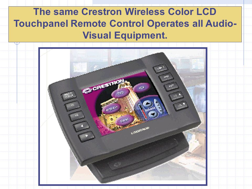 The same Crestron Wireless Color LCD Touchpanel Remote Control Operates all Audio- Visual Equipment.