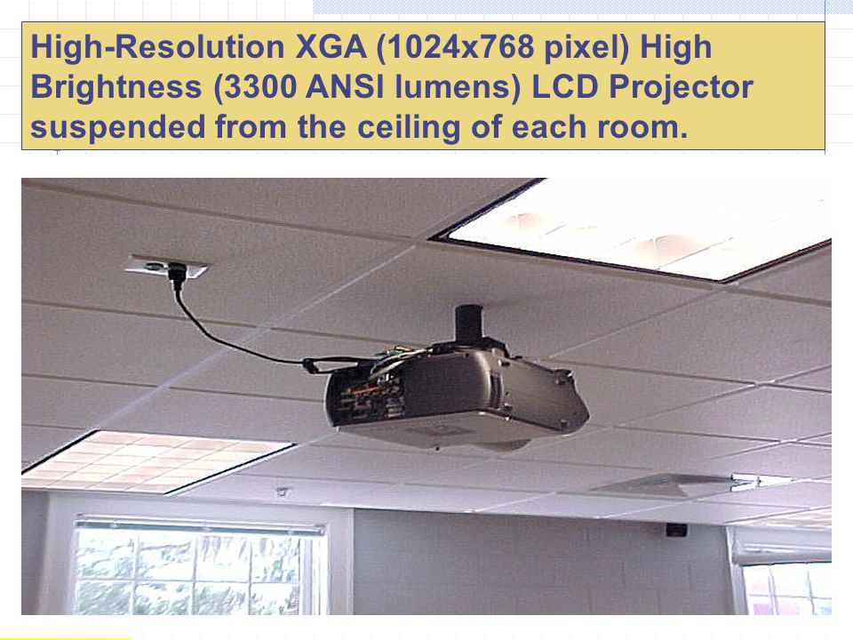 High-Resolution XGA (1024x768 pixel) High Brightness (3300 ANSI lumens) LCD Projector suspended from the ceiling of each room. Sharp XG-P20X
