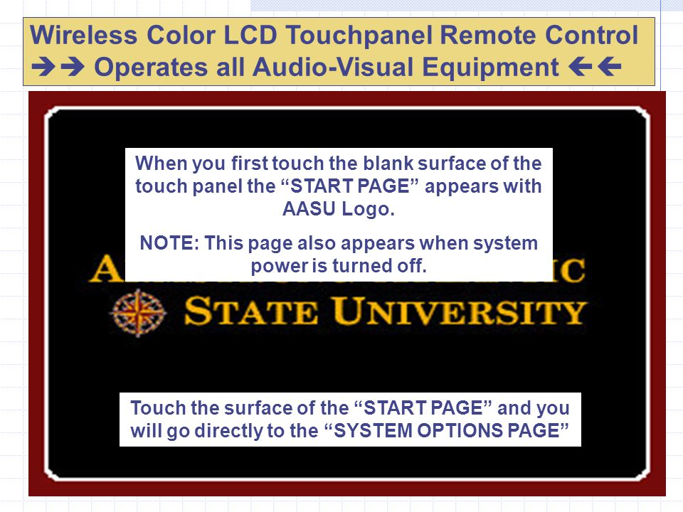 Wireless Color LCD Touchpanel Remote Control  Operates all Audio-Visual Equipment  When you first touch the blank surface of the touch panel the START PAGE appears with AASU Logo.