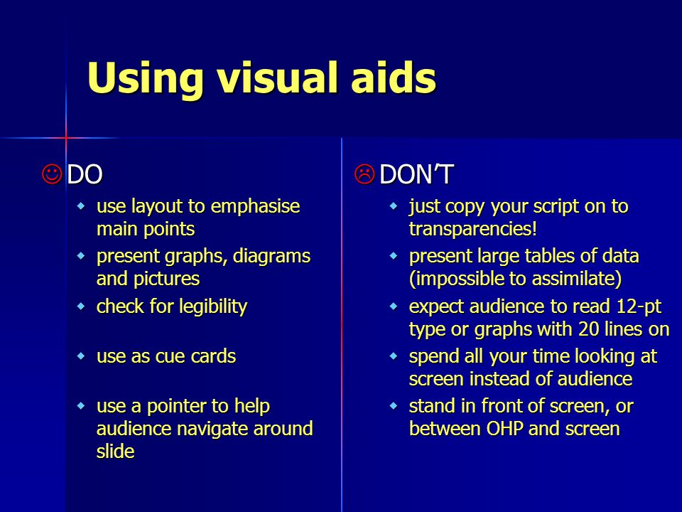 Using visual aids DO DO wuse layout to emphasise main points wpresent graphs, diagrams and pictures wcheck for legibility wuse as cue cards wuse a pointer to help audience navigate around slide  DON'T wjust copy your script on to transparencies.