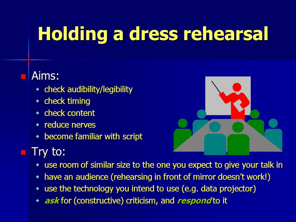 Holding a dress rehearsal Aims: Aims: wcheck audibility/legibility wcheck timing wcheck content wreduce nerves wbecome familiar with script Try to: Try to: wuse room of similar size to the one you expect to give your talk in whave an audience (rehearsing in front of mirror doesn't work!) wuse the technology you intend to use (e.g.