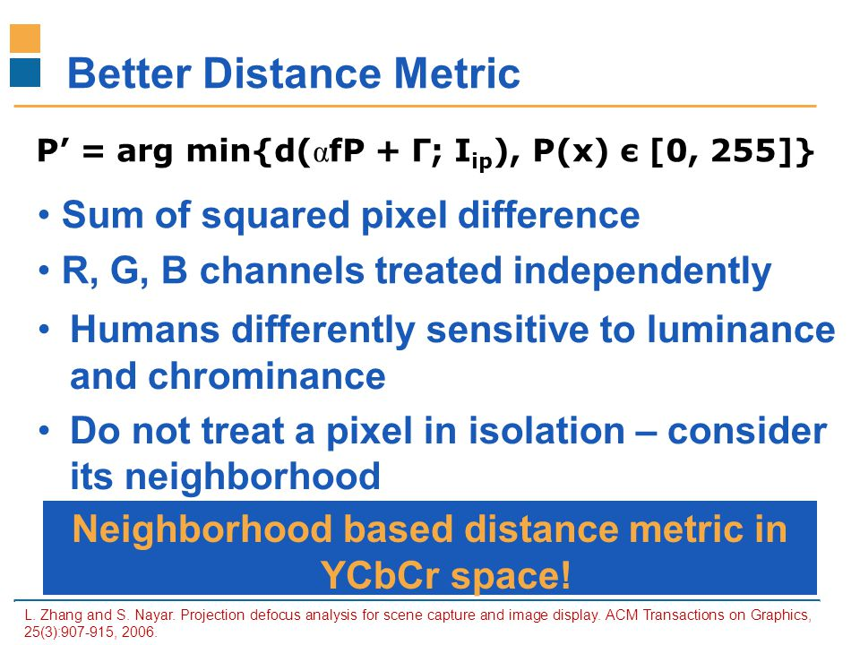 IITB-Monash Research Academy www.IITBMonash.org Better Distance Metric L. Zhang and S. Nayar. Projection defocus analysis for scene capture and image