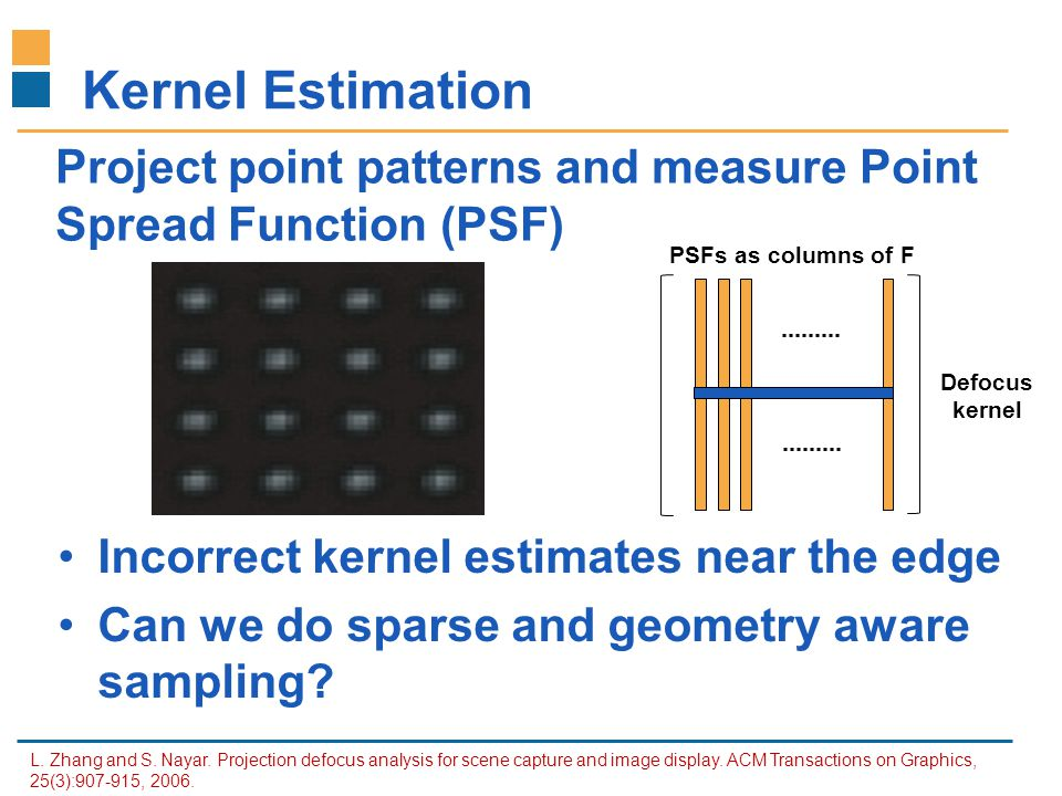 IITB-Monash Research Academy www.IITBMonash.org Kernel Estimation Incorrect kernel estimates near the edge Can we do sparse and geometry aware samplin