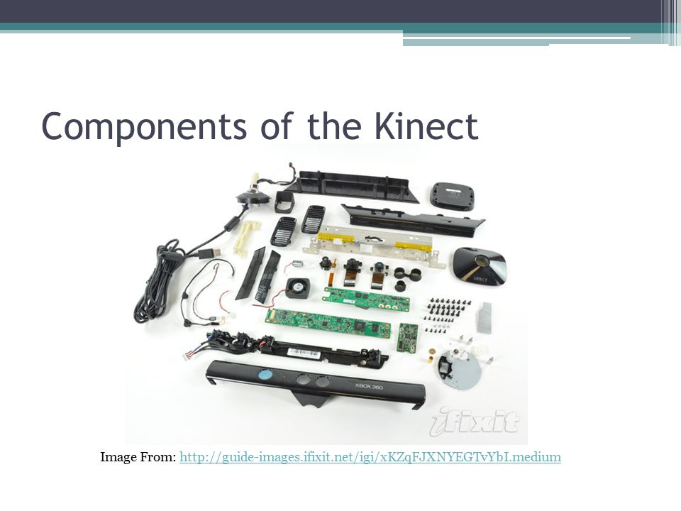 Components of the Kinect Image From: http://guide-images.ifixit.net/igi/xKZqFJXNYEGTvYbI.mediumhttp://guide-images.ifixit.net/igi/xKZqFJXNYEGTvYbI.medium
