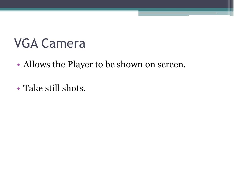 VGA Camera Allows the Player to be shown on screen. Take still shots.