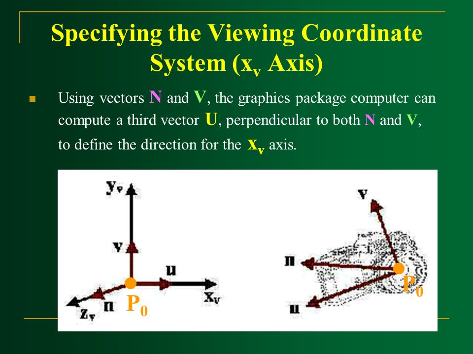 Specifying the Viewing Coordinate System (x v Axis) Using vectors N and V, the graphics package computer can compute a third vector U, perpendicular t