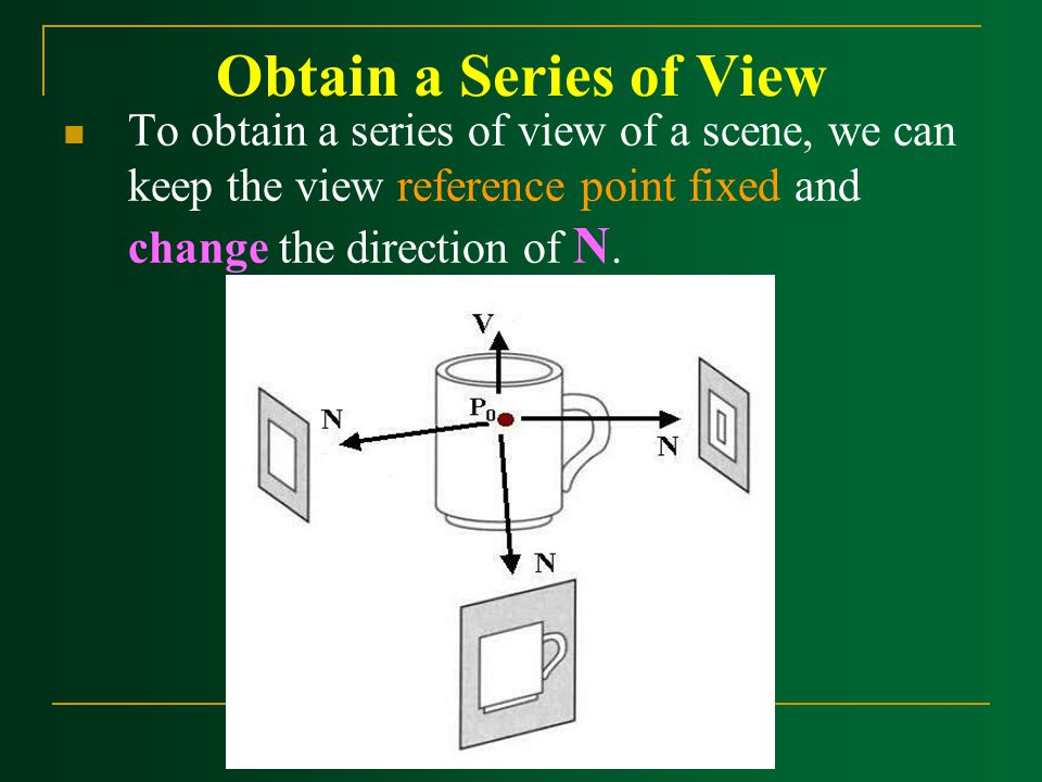 Obtain a Series of View To obtain a series of view of a scene, we can keep the view reference point fixed and change the direction of N.