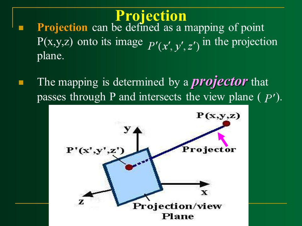 Projection Projection can be defined as a mapping of point P(x,y,z) onto its image in the projection plane. projector The mapping is determined by a p