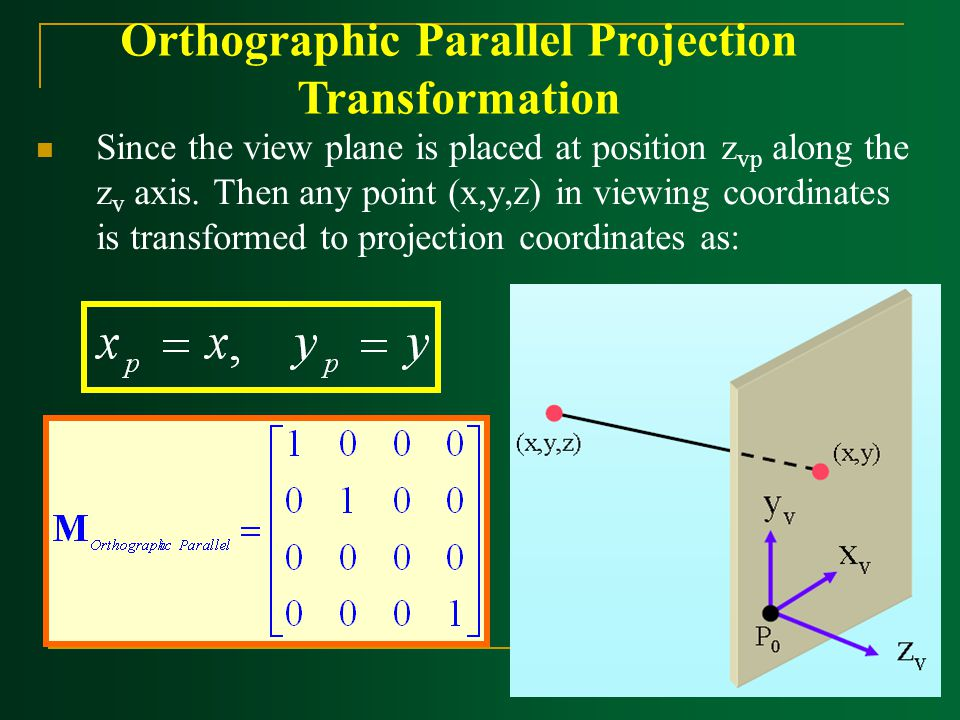 Since the view plane is placed at position z vp along the z v axis. Then any point (x,y,z) in viewing coordinates is transformed to projection coordin