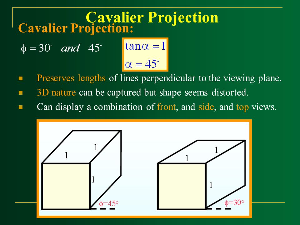 Cavalier Projection Cavalier Projection: Preserves lengths of lines perpendicular to the viewing plane. 3D nature can be captured but shape seems dist