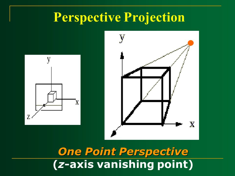 Perspective Projection One Point Perspective (z-axis vanishing point) z