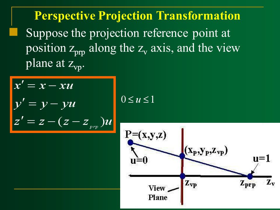 Suppose the projection reference point at position z prp along the z v axis, and the view plane at z vp. Perspective Projection Transformation