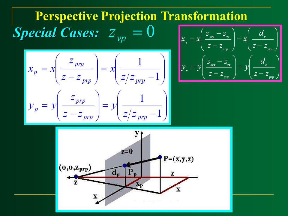 Perspective Projection Transformation Special Cases: