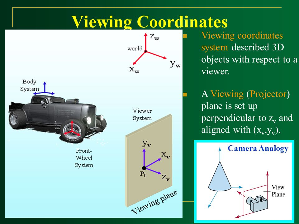 Viewing Coordinates Camera Analogy Viewing coordinates system described 3D objects with respect to a viewer. A Viewing (Projector) plane is set up per