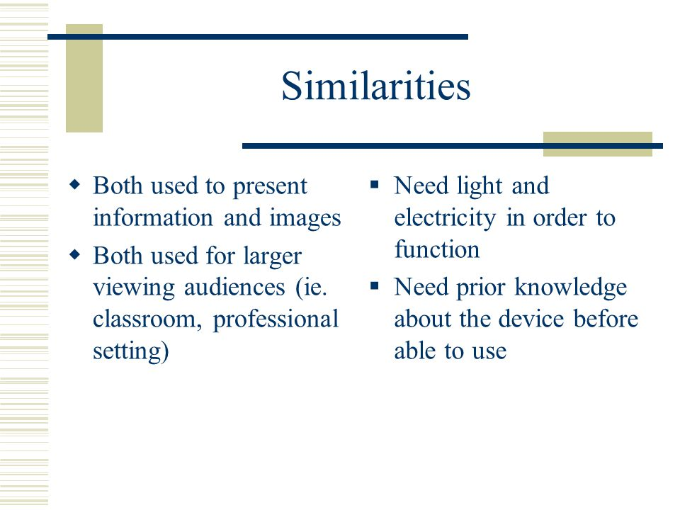 Differences Overhead  Can be as far as 3 feet away from the projector screen  Requires manual adjustment for focusing  Requires use of mirrors for projection  Needs pre-written or pre- typed material which is then projected onto a screen Video  Can be a much greater distance from projector screen  Can project larger, more detailed images  Focuses automatically  Requires more technical knowledge to operate  Needs computer to function