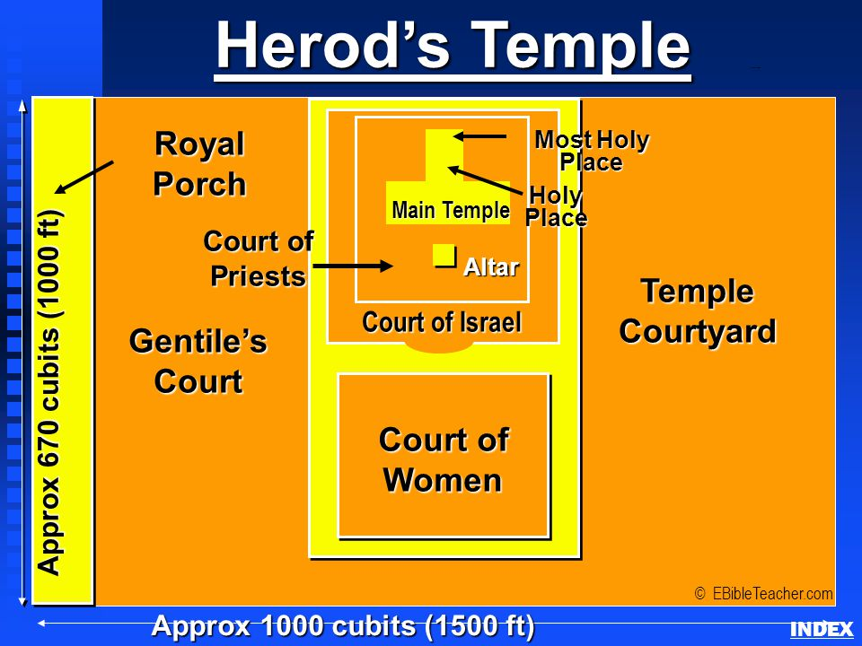 Herod's Temple Approx 1000 cubits (1500 ft) RoyalPorch © EBibleTeacher.com Herod's Temple INDEXAltar HolyPlace Most Holy Place Approx 670 cubits (1000 ft) Gentile'sCourt TempleCourtyard Court of Women Priests Court of Israel Main Temple