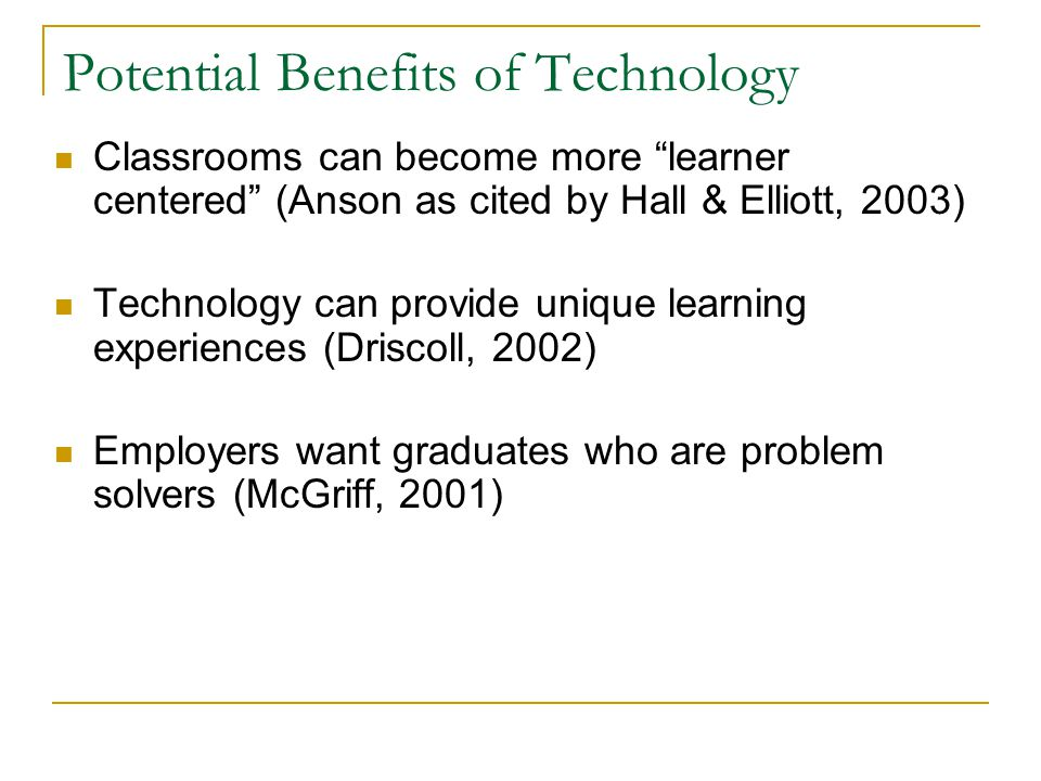 Problems facing Faculty Push for faculty to integrate technology into their classrooms Fear of failure, fear of change, fear of time involved, not knowing where to start (Truman- Davis & Hartman, 1998) Role changing from instructor/lecturer to course developer/facilitator presents problems for promotion and tenure (Bennett, 2002) Beyond normal job requirements and expectations (Davidson-Shivers, 2002)