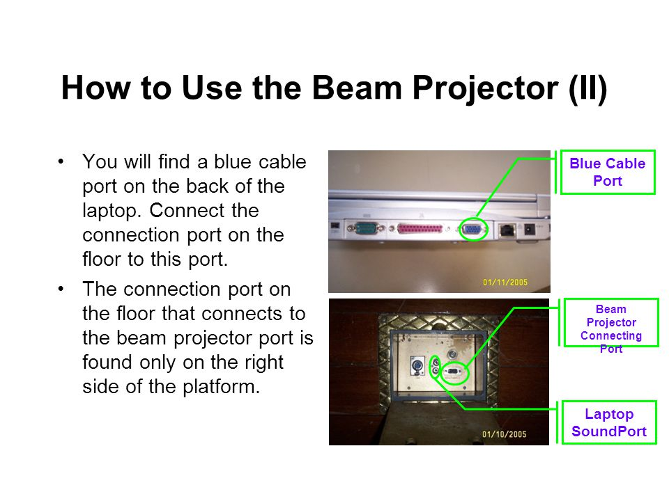 How to Use the Beam Projector (II) You will find a blue cable port on the back of the laptop.
