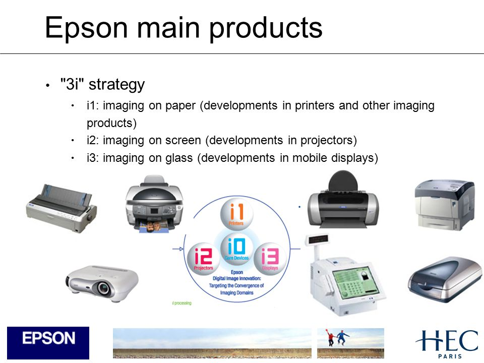 Epson main products Printers Ink jet printers Laser printers Dot matrix printers Large Format Printers (Graphic Arts) Image capture Scanners Digital Still camera Projectors Point of Sales Printers / Solution and systems for retail
