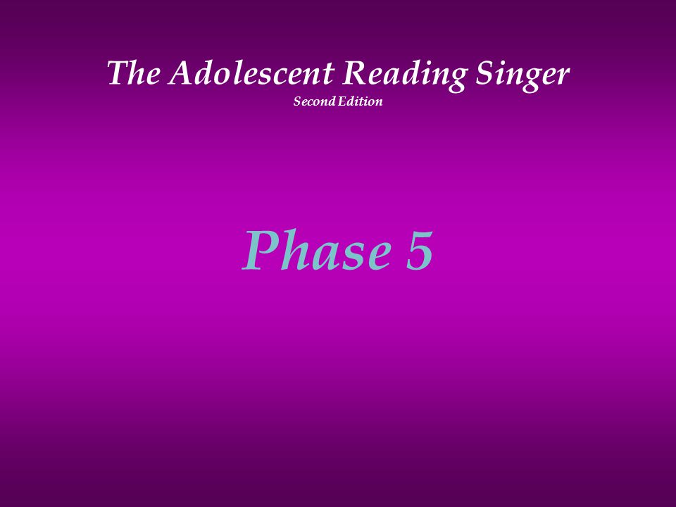 The Adolescent Reading Singer Second Edition Phase 5