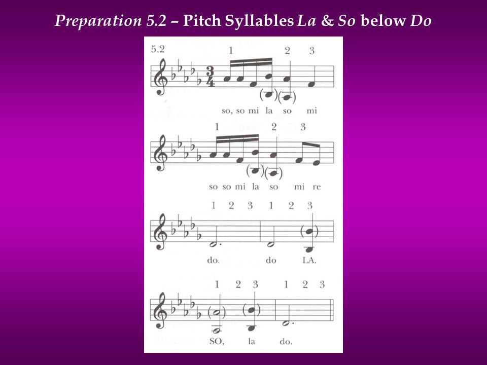 Preparation 5.2 – Pitch Syllables La & So below Do