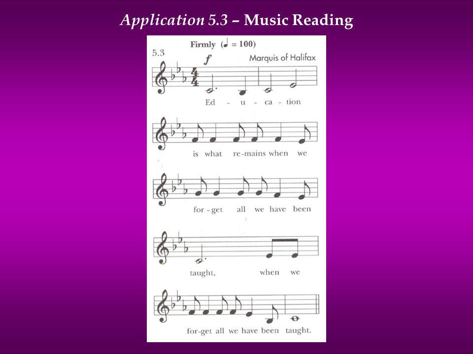 Application 5.3 – Music Reading
